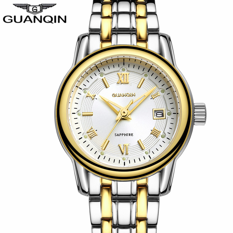 ФОТО relogio feminino GUANQIN Watches Women Fashion Sapphire Quartz Watch Ladies Luxury Gold Steel Bracelet Wristwatch montre femme