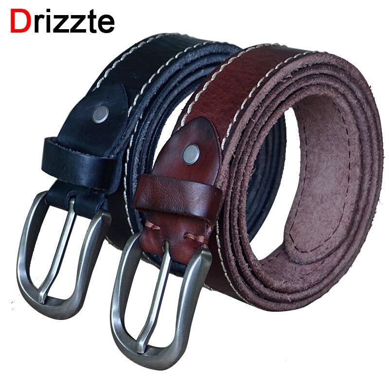 Drizzte Plus hombres Tamaño 130 cm 150 cm Hebilla de Cinturón de Cuero De Grano Completo de Cuero Genuino de Grano Superior Vestido Negro marrón Cinturones Pretina