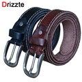 Drizzte além dos homens tamanho 130 cm 150 cm genuína cintos de fivela de cinto de couro de vaca grão cheio vestido marrom preto melhor cintura strap