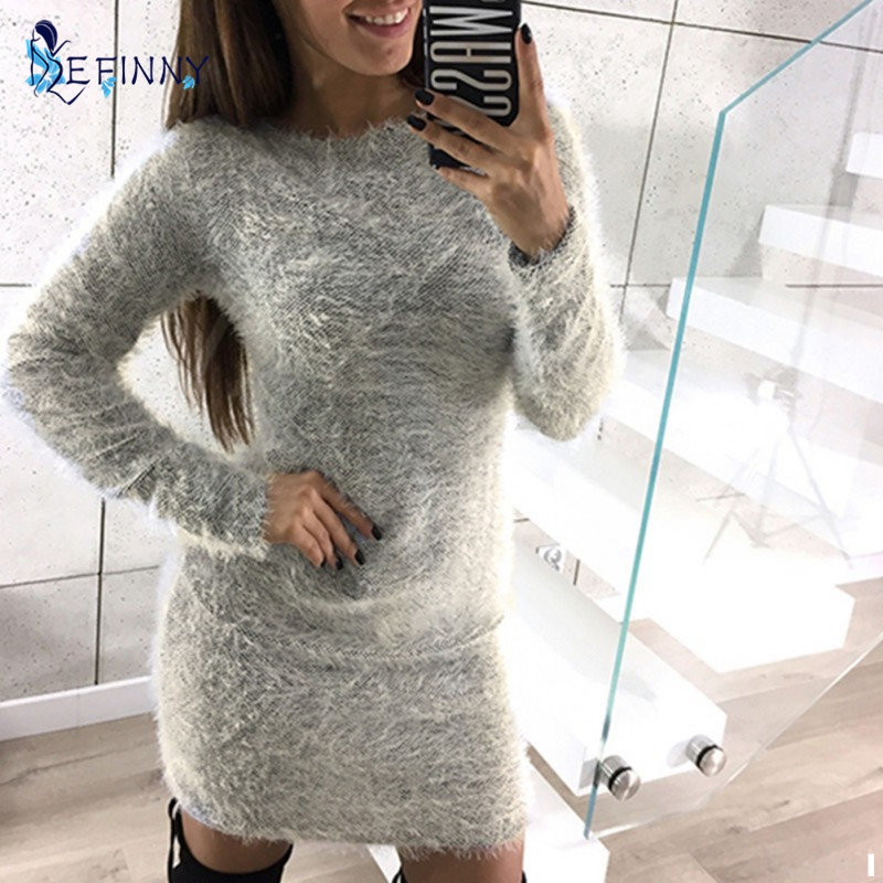 2018 New Women Long Sweater Dress Autumn Winter Bodycon Dress Casual O Neck Full Sleeve Stretch Pullover Top Sweaters Vestidos