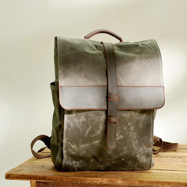 1b5c399b528 US $45.21 45% OFF|Aliexpress.com : Buy New Men Backpack Vintage Leather  Canvas Backpack School Portable Wearproof Travel Bag Women Rucksack  Knapsack ...
