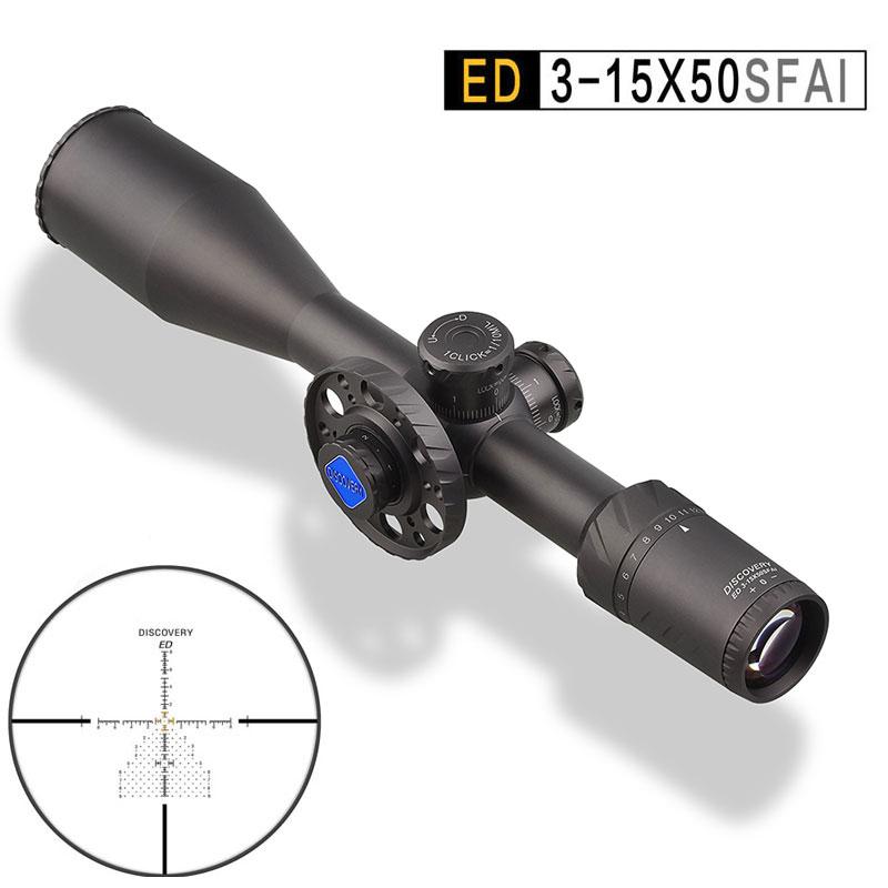 Découverte ED 3-15X50 FFP chasse lunette de visée optique réticule illuminé visée antichoc grand Angle premier plan Focal portée