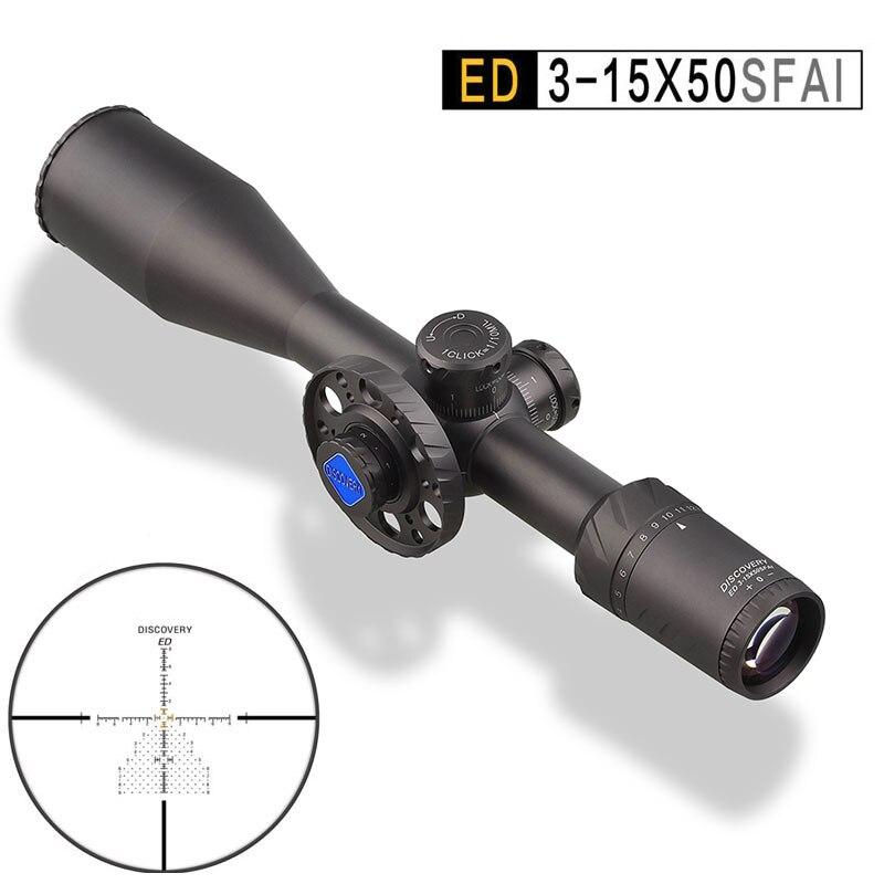 Descubrimiento ED 3-15X50 FFP caza óptico rifloscopio iluminado retícula a prueba de golpes puntos de vista gran angular Primer plano Focal alcance