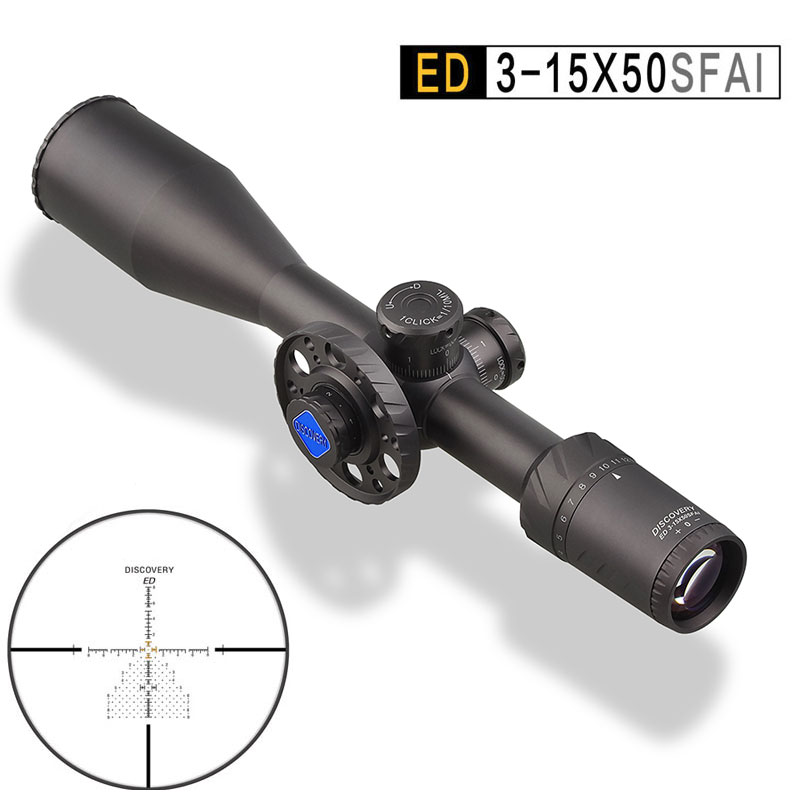 Discovery ED 3 15X50 FFP Hunting Optical Riflescope Illuminated Reticle Shockproof Sights Wide Angle First Focal Plane Scope