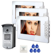 FREE SHIPPING Wired 7 inch Color Video Intercom Home Door Phone System 3 White Monitor 1 HD RFID Access Doorbell Camera In Stock