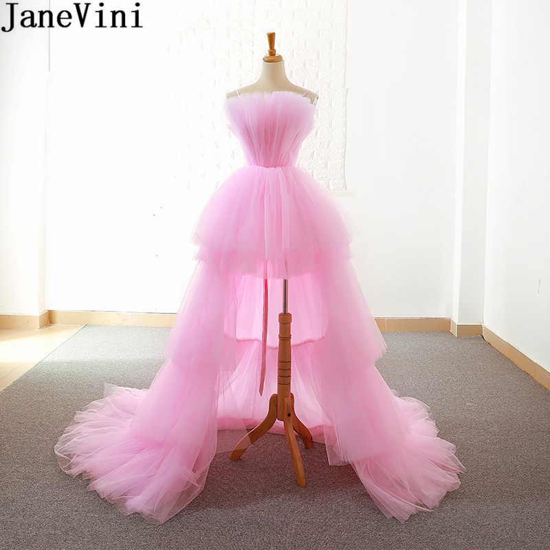 JaneVini Bruidsmeisjes Jurk Women Pink   Bridesmaid     Dresses   High Low Tulle Short Front Long Back Party Gown Wedding Guest   Dress