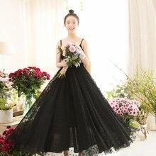 IRINAW654 Новое поступление Лето женское длинное платье на тонких бретелях винтажное платье в горошек из тюля черного цвета