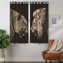 Blackout Curtains Darkening 2 Panels Grommet Window Curtain for Bedroom Lions And Cheetahs Confrontation Threat threat modeling