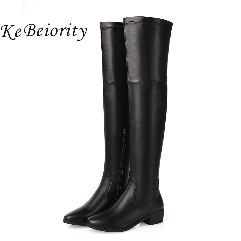 KEBEIORITY Women Boots Autumn Winter Chunky Shoes Over the ...