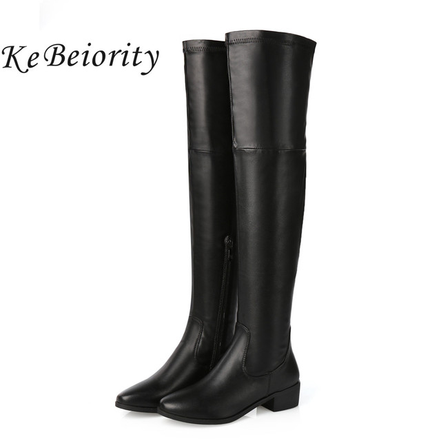 KEBEIORITY Women Boots Autumn Winter Chunky Shoes Over the Knee High Boots Women Leather Low Heels Sexy Thigh High Boots 2018