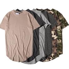 Dropshipping verano rayas curvo Hem camuflaje Camiseta Hombre largo  extendido camuflaje Hip Hop Casual Swag urbano hombres camis. bc7465ba947
