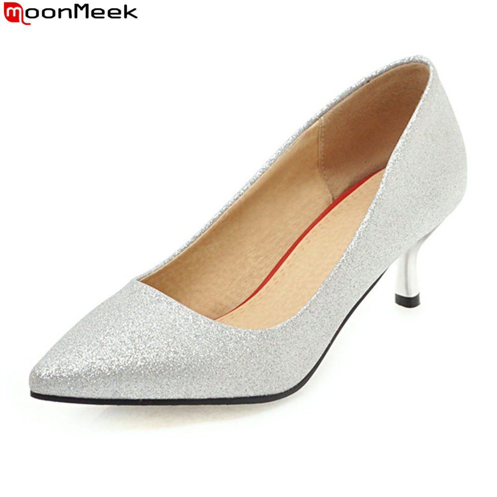 MoonMeek 2018 sexy ladies shoes shallow slip on pointed toe high heel sequined cloth thin heels party pumps women shoes size 32 43 women s high heel shoes women slip on pointed toe pumps elegant thin heels ladies sexy party weddding soft shoes