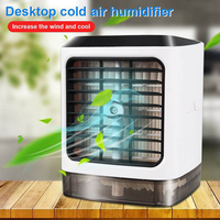 Eco friendly 3In1 Mini Air Cooling Fan Wireless Control Air Conditioner 3 Speed Humidifier LED Night light 5V USB Port Portable