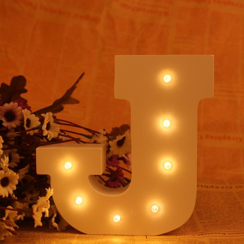 Белый Деревянный Письмо светодиодный знаковое событие Алфавит свет украшения стены загорается лампа теплый белый свет ночи Письмо J ...