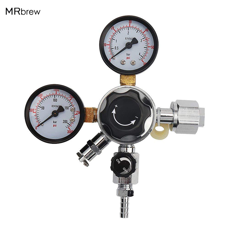 CO2 Gas Regulator CGA320 Inlet Dual Gauge with 5/16 Barbed Shutt off Valve for Homebrew Soda Draft BeerCO2 Gas Regulator CGA320 Inlet Dual Gauge with 5/16 Barbed Shutt off Valve for Homebrew Soda Draft Beer