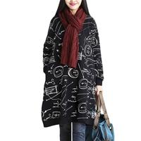 Plus Size Xl 2XL 2017 Autumn Vintage Fashion Women Graffiti Print Cotton Tops Ladies Female Large