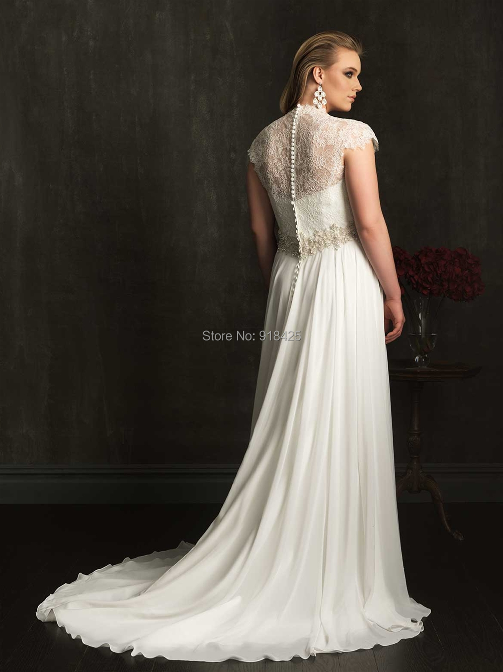 Modest Empire Waist Chiffon Plus Size Wedding Dresses Lace Cap ...
