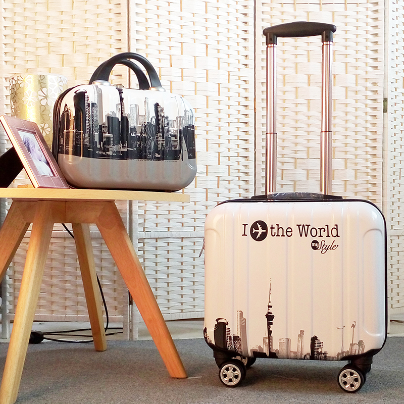 Unisex 2PCS Carry on Travel Suitcase Women Laptop Luggage Stripe Pattern Small Luggage 18 Inch Spinner Boarding box Rolling