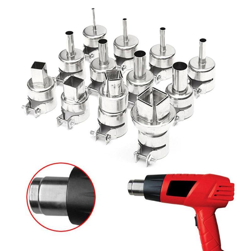 12 pçs/set Heat Gun Bicos Bico Dicas Kits de Ferramentas de Reparo BGA Estação de Retrabalho De Solda de Prata para 850 Hot Air Gun