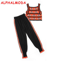ALPHALMODA 2018 Summer Bees Knitted Tank Top Haren Pants Women 2pcs Fashion Suits Slim Vest Trousers