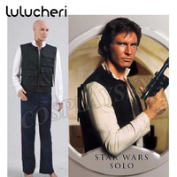 Star Wars Han Solo Cosplay Costume Man's Set with Black Vest White Shirt and Blue Pants Halloween Uniform