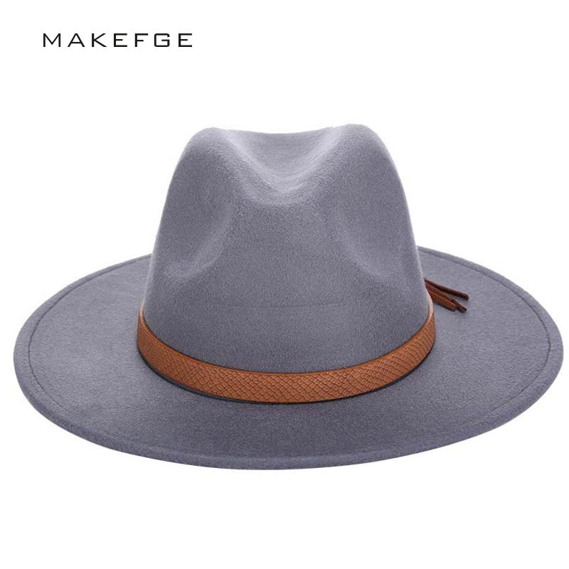2016 Autumn Winter Sun Hat Women Men Fedora Hat Classical Wide Brim Felt Floppy Cloche Cap Chapeau Imitation Wool Cap(China)