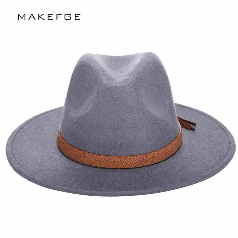2016 Осень Зима Защита от Солнца шляпа для женщин мужская фетровая шляпа  Классическая широкими полями фетр d791834b001