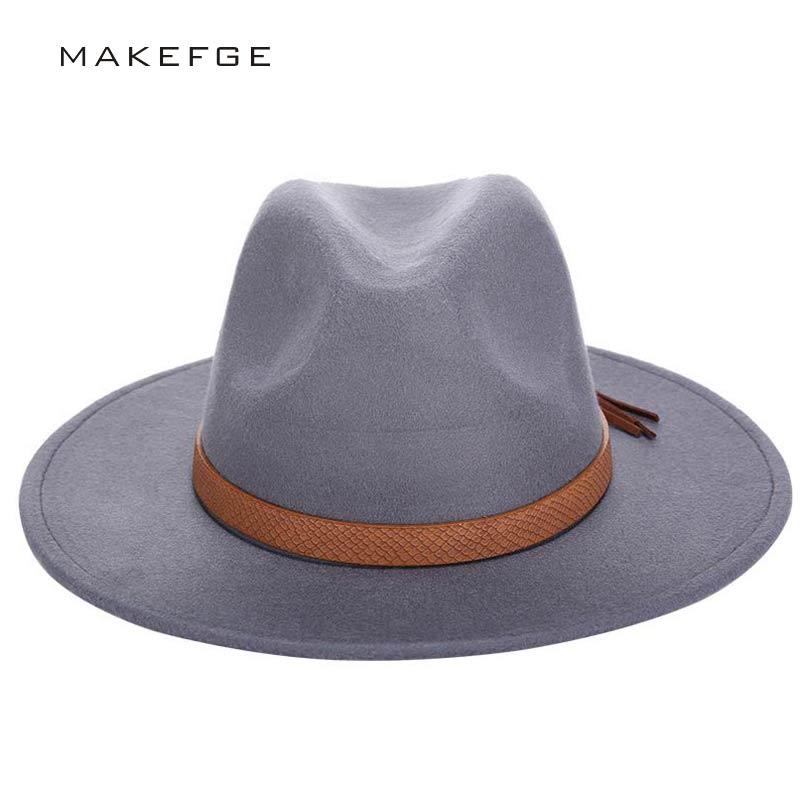 2016 Otoño Invierno Sun Hat mujeres hombres Fedora sombrero clásico ancho Brim Felt Floppy Cloche Cap Chapeau imitación gorro de lana
