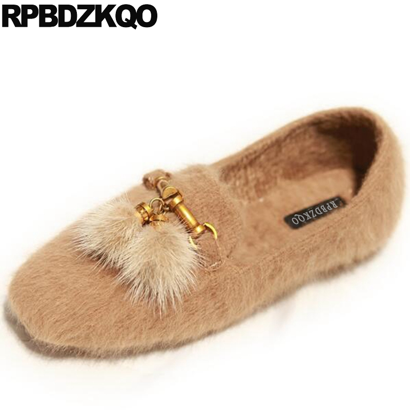 Drop Shipping Square Toe Party Metal Flats Designer Shoes China Chain Chinese Women Loafers Fur Suede Fashion Latest Pom Pom slhjc 2017 autumn flat heel shoes pointed toe women flats with metal chain real fur loafers work shoes d25