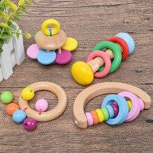 Jouets en bois pour bébé, hochet de lit de bébé, cloche à main, Instrument éducatif Musical, anneau de dentition pour tout petits