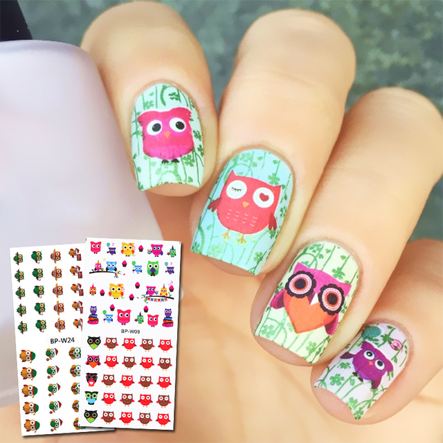 2 Sheets Born Pretty Owl Pattern Water Decal Colorful Nail Art