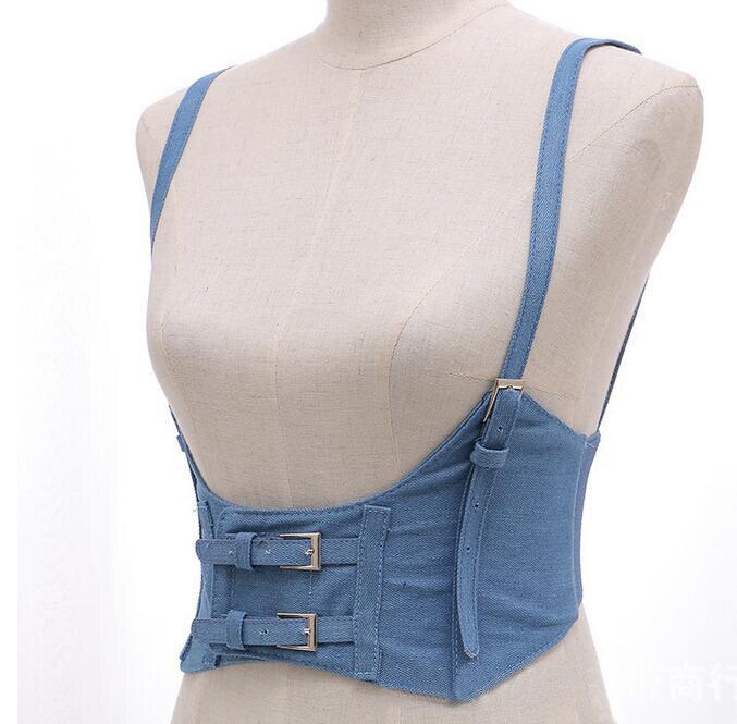 New Sexy Women Push Up Bust Strap Harness Corset belts Women Casual denim Wide belt Lady Suspender accessories