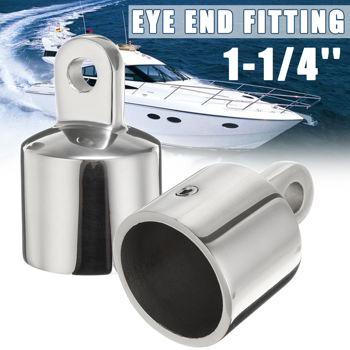 "2x Marine Boat Yachting Hardware 316 Stainless 1/"" Pipe Eye End Cap Top Fitting"