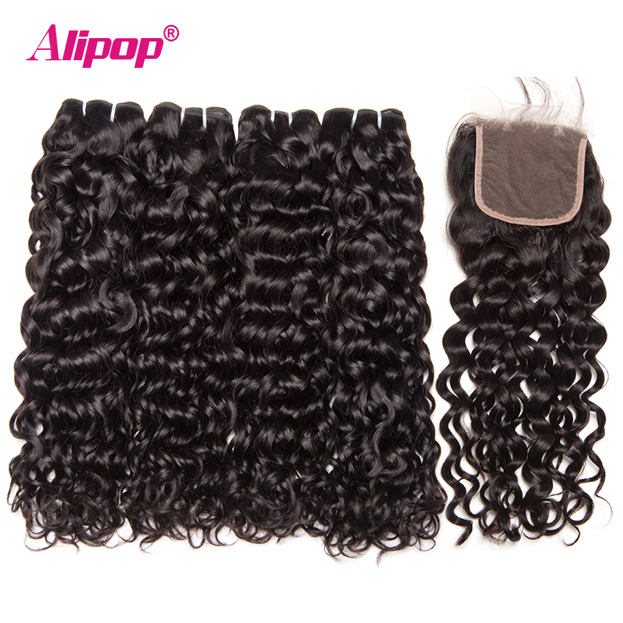 Water Wave Brazilian Hair Weave Bundles With Closure Human Hair Bundles With lace Closure 4 Bundles deals Alipop Remy 5PCS