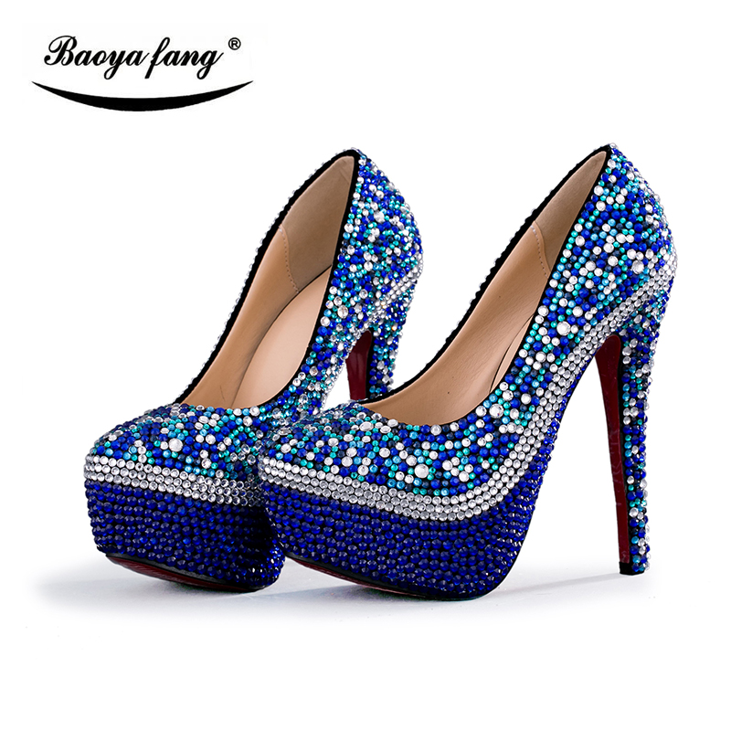 672fb11659 US $51.75 25% OFF|Royal blue cyrstal wedding shoes and bag matching sets  fashion womens Pumps High heels Party dress shoe high fashion shoesshoes-in  ...