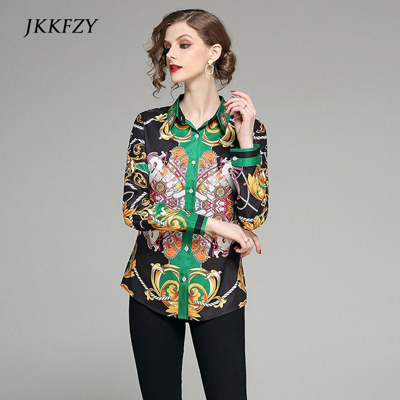 Fashion Print Blouse Women Runway Elegant Shirt High Quality Office Tops Long Sleeve Stand Neck Shirts