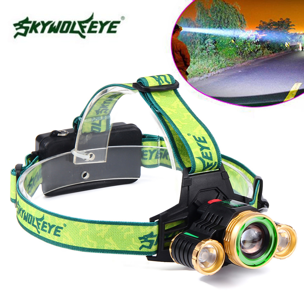 Ikvvt 30000lm Led Headlamp Flashlight Headlight Rechargeable Head Lm2575 Simple Switcher 1a Step Down Voltage Regulator Torch Lamp