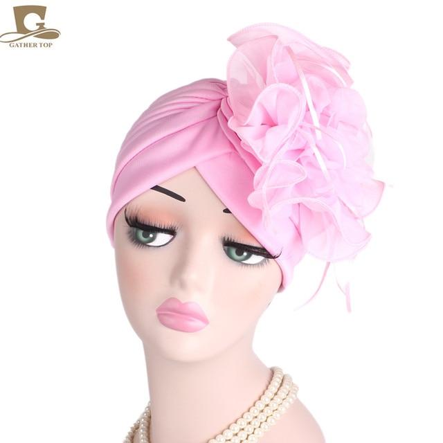 NEW Fascinators Hats Women Ruffle Turban Headwear With Big flower Cocktail  Wedding Tea Party Hat Muslim Style Beanie d7a18adb1a3