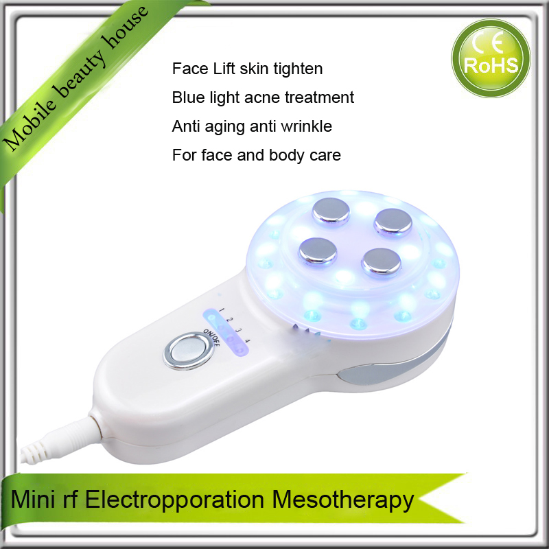 Electroporation Mesotherapy RF Radio Frequency Skin Heating Face Lift Collagen Tightening Blue Led Beauty Machine For Acne zvs high frequency induction heating 1800w high frequency machine without tap zvs