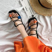 2019 Summer Flat Toe Knob Sandals Flat Strappy Slippers Women's Fashion Shoes Rome Style Casual Slippers Beach Dropshipping
