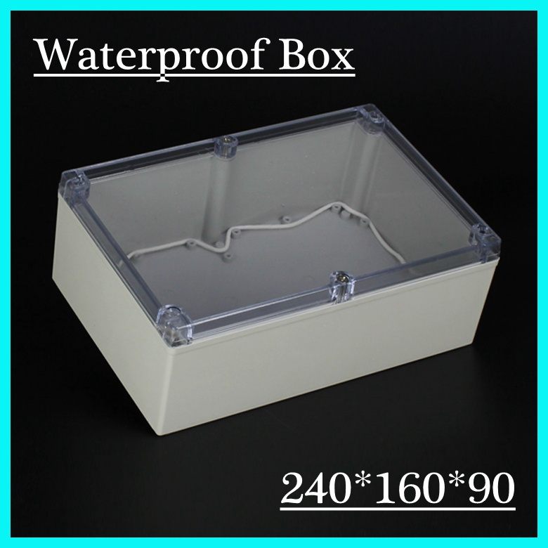 (1 piece/lot) 240*160*90mm Clear ABS Plastic IP65 Waterproof Enclosure PVC Junction Box Electronic Project Instrument Case waterproof abs plastic electronic box white case 6 size