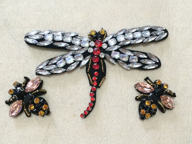High Quality Hand Dragonfly Bee Cloth Beaded Patch,clothes Skirt DIY  Accessories Decorative