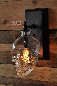 Image 3 - Лофт скандинавский промышленный дизайнер ретро стеклянная бутылка в форме черепа настенная лампа коридор лампа