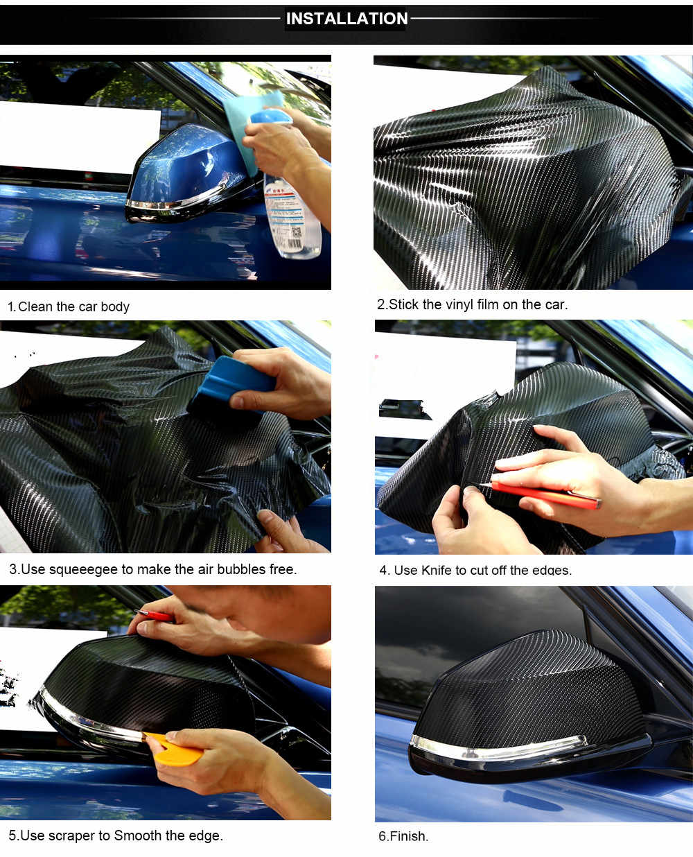 30X127 Cm 3D 5D Mobil Serat Karbon VINYL Membungkus Film Stiker dan Stiker untuk Ford Transit Ranger Mustang ka Fusion Fokus F-150