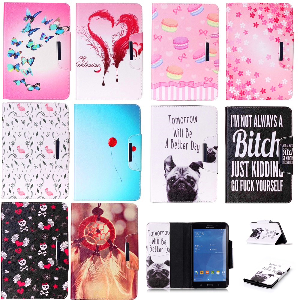 Luxury 7 Flower Pug tablet pu Leather Flip Stand Tablet Book Cover Case For Samsung Galaxy Tab 4 Tab4 7.0 T230 T231 T235 Z1 luxury flip stand case for samsung galaxy tab 3 10 1 p5200 p5210 p5220 tablet 10 1 inch pu leather protective cover for tab3