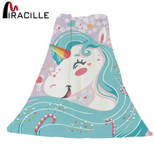 Miracille Cartoon Styles Lovely Unicorn tiskani pokrivač debela mekana baciti pokrivač za Sofa Bed Plane Travel Adult Home Textile