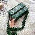 Luxus Designer Pu Leder Frauen Handtaschen Stein Muster Perlen Schulter Taschen Frauen Platz Taschen Damen Kette Messenger Bag Weibliche