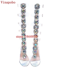Long Hollow Women Summer Rhinestone Boots Sexy Open Toe Thin High Heel Crystal Sandals Over The Knee Buckle Strap Gladiator Shoe недорого