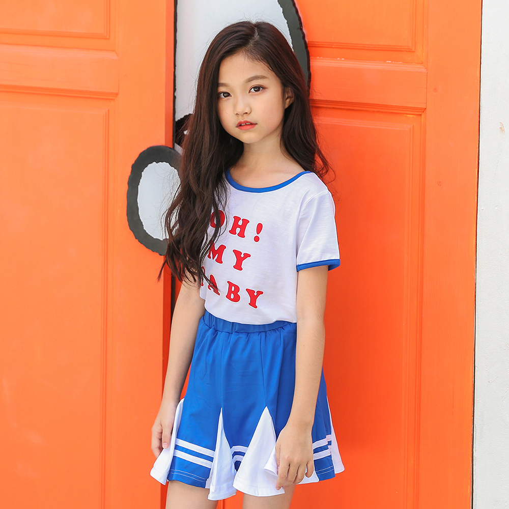 B-A1724 New Fashion Toddler Kids Baby Girls Clothes Set Summer Children Short Sleeve T-shirt Tops+Skirt 2pcs Kids Outfit Suit newborn toddler girls summer t shirt skirt clothing set kids baby girl denim tops shirt tutu skirts party 3pcs outfits set