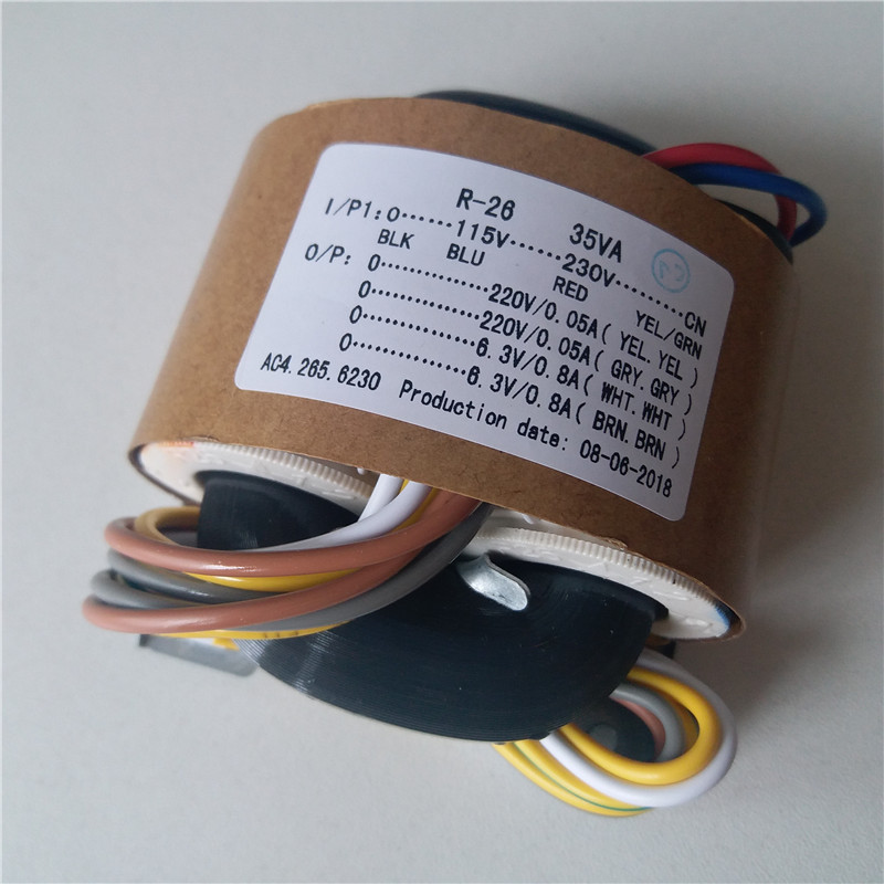 2*220 v 0.05A + 2*6.3 v 0.8A R Transformateur à Noyau 35VA transformateur de cuivre 115-230 v entrée avec bouclier sortie pour tube pré-amplificateur